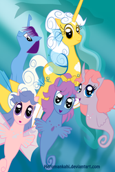 Size: 1024x1536   Tagged: safe, artist:herumankahi, oc, oc only, sea pony, g1, g1 to g4, generation leap
