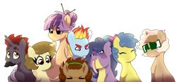 Size: 6000x2800 | Tagged: safe, artist:marukouhai, oc, oc only, oc:anne, oc:ember gem, oc:euli, oc:ginger, oc:joystick, oc:max, oc:mekanikoak, oc:skipper, dracony, earth pony, hybrid, pegasus, pony, unicorn, absurd resolution, female, glasses, interspecies offspring, male, mare, next generation, offspring, older, parent:apple bloom, parent:applejack, parent:button mash, parent:caramel, parent:featherweight, parent:rainbow dash, parent:rarity, parent:rumble, parent:scootaloo, parent:soarin', parent:spike, parent:sweetie belle, parents:carajack, parents:rumbloom, parents:scootaweight, parents:soarindash, parents:sparity, parents:sweetiemash, simple background, stallion, white background
