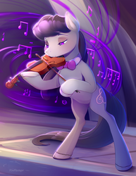 Size: 1700x2200 | Tagged: artist:viwrastupr, backwards cutie mark, bipedal, bow (instrument), close-up, music, music notes, octavia melody, pony, safe, solo, stage, violin, violin bow