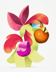 Size: 2100x2700 | Tagged: safe, artist:talonsofwater, apple bloom, pony, adorabloom, apple, cute, female, food, mouth hold, saddle bag, simple background, solo, white background