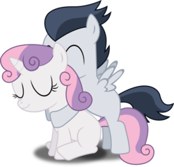 Size: 1225x1182 | Tagged: safe, artist:meandmyideas, rumble, sweetie belle, hug, hug from behind, male, rumbelle, shipping, simple background, straight, transparent background