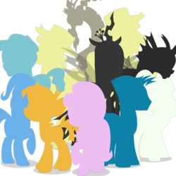 Size: 1400x1400 | Tagged: safe, artist:inklingbear, crystal hoof, discord, flam, flim, queen chrysalis, sky stinger, snails, starlight glimmer, thorax, trixie, vapor trail, changeling, pony, disguise, disguised changeling, reformed four, silhouette