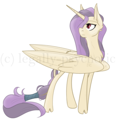 Size: 1486x1550   Tagged: safe, artist:legally-psychotic, oc, oc only, oc:la roi, alicorn, pony, alicorn oc, cloven hooves, female, hair over one eye, impossibly large wings, mare, simple background, solo, transparent background, watermark