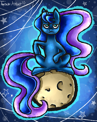 Size: 800x1000   Tagged: safe, artist:twixyamber, princess luna, alicorn, pony, moon, sitting, solo, tangible heavenly object