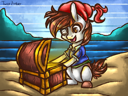 Size: 640x480   Tagged: safe, artist:twixyamber, pipsqueak, chest, eyepatch, happy, ocean, pirate, sand, solo, treasure