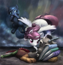 Size: 848x878 | Tagged: safe, artist:bakuel, discord, princess celestia, princess luna, alicorn, draconequus, pony, book, cewestia, cloud, cute, discute, feather, female, filly, filly celestia, filly luna, flying, foal, male, missing accessory, night, pink-mane celestia, royal sisters, sleeping, smiling, stars, tickling, trio, woona, young, young celestia, young discord, young luna, younger