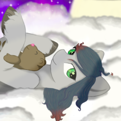 Size: 587x587   Tagged: safe, artist:onyxpenstroke, derpibooru exclusive, oc, oc only, oc:onyx penstroke, pegasus, pony, bust, cloud, crepuscular rays, cute, green eyes, hoof in air, hooves, lidded eyes, looking at you, lying down, messy mane, moon, multicolored hair, night, night sky, on a cloud, on back, smiling, solo, stars, teddy bear, unshorn fetlocks