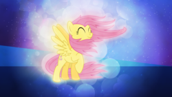 Size: 3840x2160 | Tagged: 4k, artist:game-beatx14, artist:mysteriouskaos, fluttershy, safe, solo, wallpaper, windswept mane