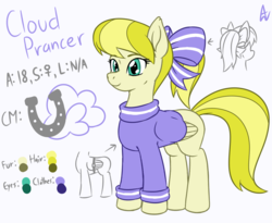 Size: 1100x900 | Tagged: safe, artist:acesrockz, oc, oc only, oc:cloud prancer, pegasus, pony, blonde hair, bow, clothes, color palette, cutie mark, hair bow, light skin, ponytail, reference sheet, ribbon, simple background, smiling, solo, sweater, white background