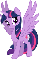 Size: 7000x10504 | Tagged: safe, artist:luckreza8, twilight sparkle, alicorn, pony, my little pony: the movie, .svg available, absurd resolution, female, large wings, looking at you, simple background, smiling, solo, spread wings, transparent background, twilight sparkle (alicorn), vector, wings