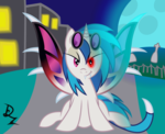 Size: 2882x2342 | Tagged: artist:drzedworth, bat pony, dj pon-3, fangs, pony, safe, solo, vampire, vinyl scratch