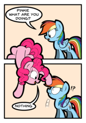 Size: 920x1317 | Tagged: artist:kingtoby19, breaking the fourth wall, comic, duo, earth pony, exclamation point, fourth wall, interrobang, pegasus, pinkie being pinkie, pinkie physics, pinkie pie, pony, question mark, rainbow dash, safe, speech bubble