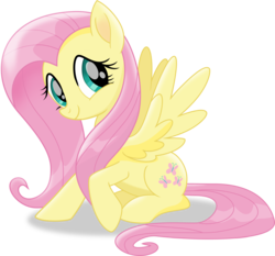 Size: 5583x5206   Tagged: safe, artist:shutterflyeqd, fluttershy, pegasus, pony, my little pony: the movie, absurd resolution, cute, female, happy, looking at you, mare, raised hoof, shyabetes, simple background, sitting, smiling, solo, spread wings, transparent background, vector