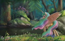Size: 3248x2072   Tagged: safe, artist:starblaze25, princess celestia, alicorn, bird, pony, creek, female, flower, forest, grass, lidded eyes, looking at you, looking back, missing accessory, raised hoof, rear view, rock, scenery, scenery porn, smiling, solo, spread wings, tree