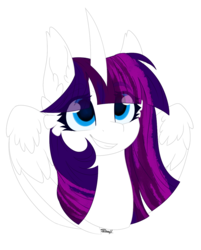 Size: 1022x1270 | Tagged: safe, artist:cloud-drawings, oc, oc only, oc:twily star, alicorn, pony, alicorn oc, bust, female, gift art, mare, simple background, smiling, solo