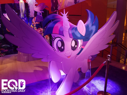 Size: 1600x1200   Tagged: safe, twilight sparkle, alicorn, pony, my little pony: the movie, flying, glowing horn, happy, irl, it's coming right at us, photo, smiling, solo, spread wings, toy fair, toy fair 2017, twilight sparkle (alicorn)