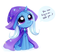Size: 745x700 | Tagged: safe, artist:rainiitan, trixie, pony, unicorn, cape, clothes, crying, cute, diatrixes, female, filly, floppy ears, frown, hat, looking up, puppy dog eyes, sad, simple background, sitting, solo, speech bubble, teary eyes, trixie's cape, trixie's hat, weapons-grade cute, white background