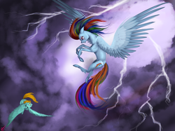 Size: 2366x1768 | Tagged: safe, artist:vinicius040598, lightning dust, rainbow dash, fight, vs
