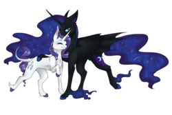 Size: 1500x1000   Tagged: safe, artist:fancycookiejar, nightmare moon, rarity, alicorn, bat pony, bat pony alicorn, classical unicorn, pony, unicorn, bat wings, blushing, cloven hooves, colored hooves, cute, duo, ethereal fetlocks, ethereal mane, female, hybrid wings, leonine tail, lesbian, mare, missing accessory, moonabetes, nicemare moon, nightrarity, nuzzling, raised hoof, raribetes, realistic horse legs, shipping, simple background, starry mane, transparent background, unshorn fetlocks, wings