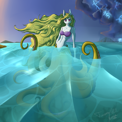 Size: 3000x3000 | Tagged: safe, artist:stirren, artist:twotail813, oc, oc only, oc:storm shield, hybrid, monster pony, octopony, octopus, original species, anthro, bra, breasts, cecaelia, clothes, collaboration, commission, female, finished, gills, looking at you, mare, ocean, rcf community, solo, tentacles, underwear, water, ych result