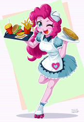 Size: 832x1200   Tagged: safe, artist:uotapo, pinkie pie, coinky-dink world, eqg summertime shorts, equestria girls, equestria girls series, pinkie pie: snack psychic, abstract background, apron, blushing, burger, carhop, clothes, cute, diapinkes, doll, dress, drink, equestria girls minis, female, food, french fries, hat, headset, one eye closed, pie, roller skates, server pinkie pie, skirt, solo, toy, waitress, wink