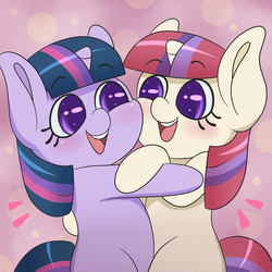Size: 1280x1280 | Tagged: safe, artist:fawness, moondancer, twilight sparkle, pony, unicorn, 30 minute art challenge, abstract background, blushing, colored pupils, cute, dancerbetes, duo, female, filly, filly moondancer, filly twilight sparkle, hug, looking at each other, open mouth, pink background, simple background, smiling, twiabetes, twidancer
