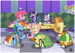 Size: 1600x1131 | Tagged: alicorn, applejack, artist:alvh-omega, at the gala, clothes, donut, dragon, dress, earth pony, fluttershy, food, gala dress, mane six, pegasus, pinkie pie, pony, princess celestia, rainbow dash, rarity, safe, spike, the best night ever, twilight sparkle, unicorn