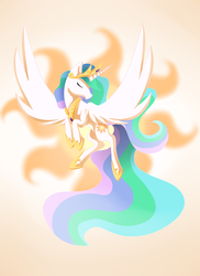 Size: 1632x2241 | Tagged: safe, artist:ellen124, princess celestia, alicorn, pony, crown, cutie mark, cutie mark background, ethereal mane, ethereal tail, eyes closed, female, flapping, flowing mane, flowing tail, flying, hoof shoes, jewelry, mare, multicolored mane, multicolored tail, praise the sun, regalia, royalty, solo, spread wings, tiara
