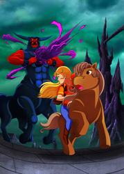 Size: 3471x4861   Tagged: safe, artist:kukurobuki, megan williams, tirek (g1), tj, centaur, earth pony, human, pony, g1, my little pony 'n friends, absurd resolution, commission, female, humans riding ponies, male, mare, rainbow of darkness, riding, tirac's bag
