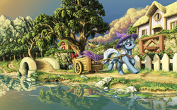 Size: 1920x1200 | Tagged: safe, artist:da-exile, fluttershy, trixie, pony, unicorn, bridge, cape, cart, clothes, cloud, female, fireworks, flower, hat, house, lilypad, mare, mountain, pulling, reflection, river, running, scenery, scenery porn, solo focus, tree, trixie's cape, trixie's hat, underhoof, water