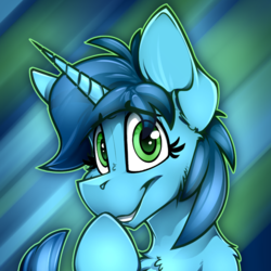 Size: 732x732 | Tagged: artist:ralek, avatar, giggling, icon, looking at you, oc, oc only, oc:sweet cakes, pony, safe, smiling, solo, unicorn