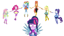 Size: 10000x5615 | Tagged: safe, artist:limedazzle, applejack, fluttershy, pinkie pie, rainbow dash, rarity, sci-twi, sunset shimmer, twilight sparkle, equestria girls, legend of everfree, absurd resolution, balloon, boots, clothes, crystal guardian, crystal wings, eyes closed, glasses, glowing eyes, high heel boots, humane five, humane seven, humane six, mane six, ponytail, scitwilicorn, shoes, show accurate, simple background, sneakers, sparkles, sun, super ponied up, transparent background, vector, wings