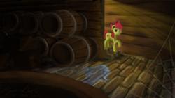 Size: 1191x670 | Tagged: safe, artist:hyper dash, apple bloom, earth pony, pony, barrel, cellar, female, filly, solo