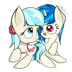 Size: 800x800 | Tagged: artist:upsidedownpanda, chibi, coco pommel, cocoscratch, cute, dj pon-3, female, lesbian, safe, shipping, simple background, transparent background, vinyl scratch