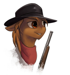 Size: 1000x1073 | Tagged: safe, artist:rublegun, oc, oc only, oc:calamity, pegasus, pony, fallout equestria, bandana, bust, dashite, fanfic, fanfic art, floppy ears, gun, hat, male, portrait, rifle, shotgun, simple background, smiling, solo, stallion, teeth, weapon, white background