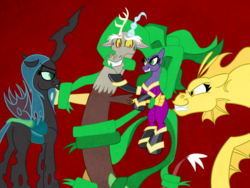 Size: 1024x768 | Tagged: safe, artist:turkleson, adagio dazzle, discord, mane-iac, queen chrysalis, discolis, discord gets all the mares, female, femdom, male, manecord, shipping, straight