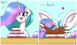 Size: 4120x2401 | Tagged: safe, artist:nexcoyotlgt, princess celestia, alicorn, pony, absurd resolution, cake, cakelestia, cheek fluff, comic, cute, cutelestia, ear fluff, eating, eyes on the prize, faceplant, female, fluffy, food, happy, heart, majestic as fuck, messy eating, nom, offscreen character, open mouth, sillestia, silly, smiling, solo, spread wings