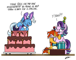 Size: 3015x2387   Tagged: safe, artist:bobthedalek, starlight glimmer, sunburst, trixie, pony, unicorn, angry, birthday, bunny ears, bunny suit, cake, clothes, costume, covering, covering eyes, dialogue, eyes closed, fishnets, food, frown, funny, glare, inconvenient trixie, leaning, leotard, messy mane, misunderstanding, open mouth, pantyhose, playcolt, pop out cake, present, scarf, simple background, sitting, starlight is not amused, trio, unamused, white background