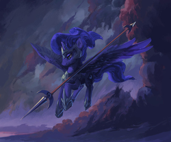 Size: 1956x1630 | Tagged: safe, artist:hunternif, princess luna, alicorn, pony, armor, cloud, female, flying, glare, helmet, lidded eyes, mare, serious, sky, solo, spear, spread wings, twilight (astronomy), warrior luna, weapon