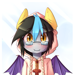 Size: 650x650 | Tagged: safe, artist:hoodie, oc, oc only, oc:nimble brisk, bat pony, pony, semi-anthro, bust, clothes, hoodie, looking at you, portrait, solo