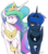 Size: 2108x2396 | Tagged: safe, artist:lrusu, princess celestia, princess luna, alicorn, pony, :|, collar, duo, jewelry, lidded eyes, necklace, raised hoof, regalia, rule 63, simple background, smiling, transparent background, unamused
