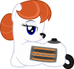 Size: 1912x1779 | Tagged: safe, artist:badumsquish, derpibooru exclusive, oc, oc only, oc:ginger-bread, original species, toaster pony, badumsquish strikes again, coils, draw me like one of your french girls, female, freckles, ginger, hair bun, looking at you, looking back, on side, red hair, simple background, slots, smiling, solo, toaster, transparent background