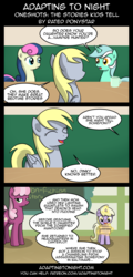 Size: 960x2000 | Tagged: safe, artist:terminuslucis, bon bon, cheerilee, derpy hooves, dinky hooves, lyra heartstrings, sweetie drops, earth pony, pegasus, pony, unicorn, comic:adapting to night, cheerilee is unamused, coffee mug, comic, dialogue, glowing horn, horn, magic, mug, parchment, refuge in audacity, telekinesis, this will end in detention, unamused