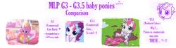 Size: 2393x656 | Tagged: safe, rarity (g3), sweetie belle (g3), g3, g3.5, newborn cuties, comparison, cute, diasweetes, g3betes, raribetes