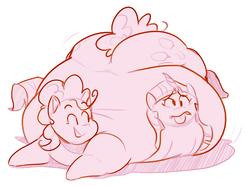 Size: 2384x1786 | Tagged: safe, artist:secretgoombaman12345, pinkie pie, twilight sparkle, balloonbutt, belly, big belly, cartoon physics, chubby cheeks, fat, flattened, impossibly large belly, large butt, morbidly obese, obese, piggy pie, plot, pudgy pie, story in the comments, tongue out