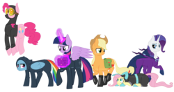Size: 4823x2574   Tagged: safe, artist:blackgryph0n, artist:slim-shady, applejack, fluttershy, mare do well, pinkie pie, rainbow dash, rarity, twilight sparkle, alicorn, earth pony, pegasus, pony, unicorn, absurd resolution, boots, bunny ears, catsuit, clothes, costume, cowboy hat, dangerous mission outfit, female, fireproof boots, glowing horn, goggles, hat, hoodie, levitation, looking at you, magic, mane six, mare, pinkie spy, saddle bag, simple background, smiling, sneaky, spy, stealth suit, stetson, telekinesis, transparent background, twilight sparkle (alicorn), watermark