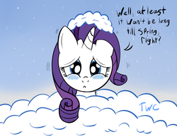 Size: 1280x1011 | Tagged: safe, artist:tellywebcartoons, rarity, 30 minute art challenge, snow, solo, winter