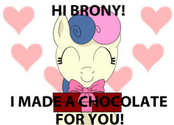 Size: 1944x1400 | Tagged: safe, edit, bon bon, sweetie drops, earth pony, pony, adorabon, amused, bon bon is amused, bronybait, chocolate, cute, eyes closed, female, food, heart, present, smiling, solo
