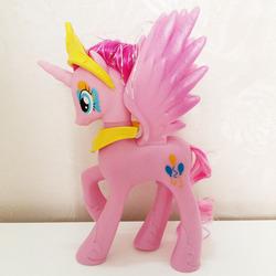 Size: 400x400   Tagged: safe, pinkie pie, alicorn, pony, alicornified, bootleg, brushable, crown, irl, jewelry, peytral, photo, pinkiecorn, princess pinkie pie, race swap, regalia, solo, tinsel, toy, xk-class end-of-the-world scenario