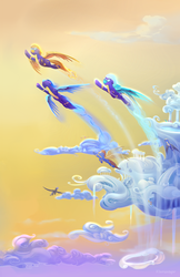 Size: 1650x2550 | Tagged: safe, artist:viwrastupr, part of a set, blaze, fleetfoot, soarin', spitfire, pegasus, pony, clothes, cloud, cloudsdale, flying, goggles, group, scenery, sky, spread wings, uniform, wonderbolts, wonderbolts uniform